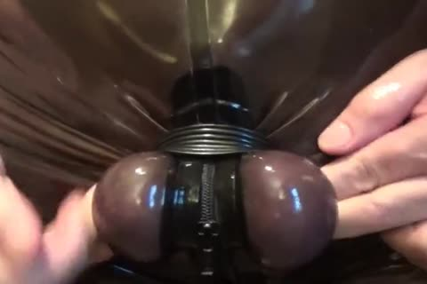 SPLIT AND HARD STRETCH OF MY EGGS. RUBBERED AND bound.