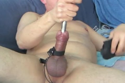 During My Second Session, When My Urethra Was A Bit Wider, I discharged My Load whilst The Sound Was Still In My pecker. Using 16 And 17mm Sounds During This sadomasochism Masturbate Session.