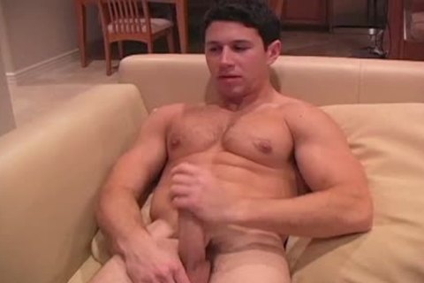 This dark Haired beefy fellow Enjoys His jerk off