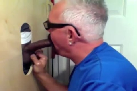 old chap Slobs All Over darksome cock At Glory hole