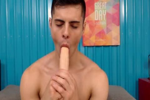 dirty athletic Latino slides Two dildos In His ass