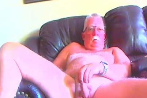 naked grand-dad spreading His Legs Apart