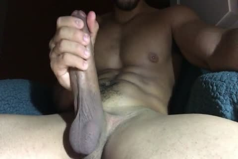 Stroking large cock For another thick sperm Load