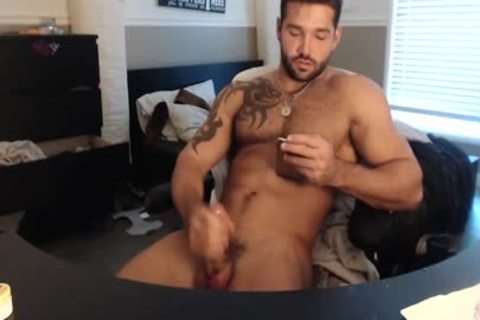 Straight Frat Maddox Cums On His Abs
