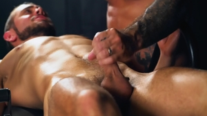 Inked Dante Colle bareback playing with sex toys spanking