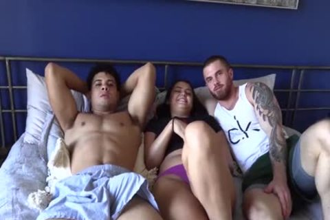 handsome Lad Bonks His hairy best ally And His latin chick GF