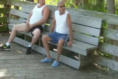 outdoors Scenes Where old man Sucks acquires banged By Chub