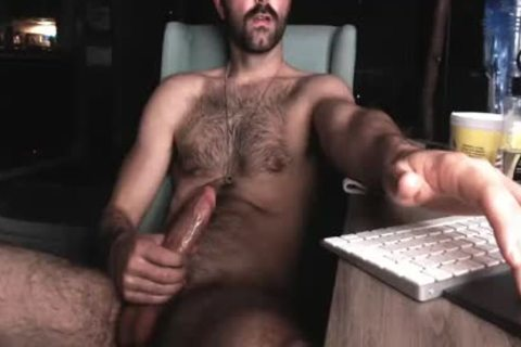 hairy Chest man jerking off His large weenie And Shooting large Load Of sperm
