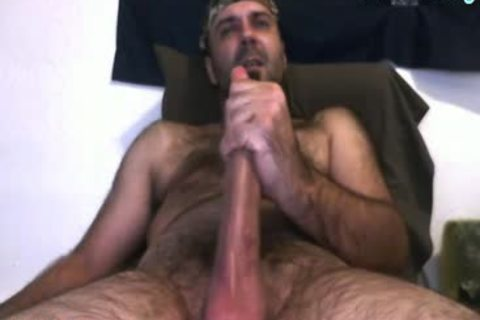 Daddy Bear stroking His 10 Inches 10-Pounder And Cumming