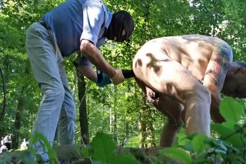 Real Geman amateur unfathomable fake penis And Fist Sex In The Wood