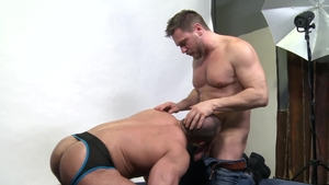 Men Over 30: Hairy huge penis Hans Berlin kissing each other