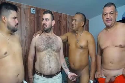 A group Of daddy males stroking And Showing Off Their knobs