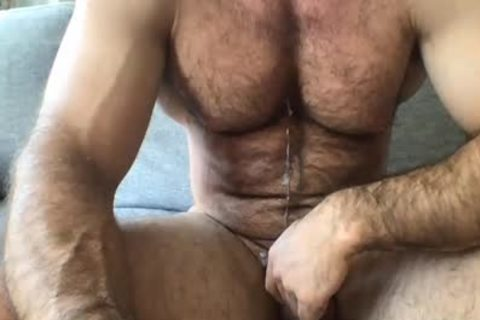 hirsute chap Masturbating To spooge In webcam